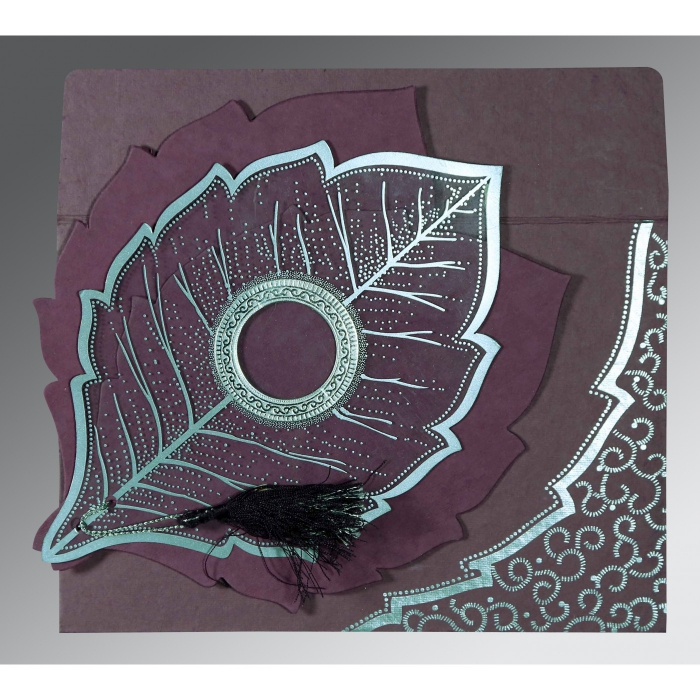 Purple Handmade Cotton Floral Themed - Foil Stamped Wedding Card : CD-8219O - IndianWeddingCards