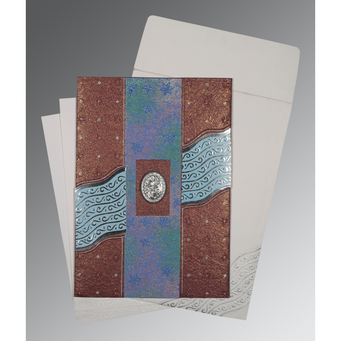 Purple Handmade Shimmer Foil Stamped Wedding Card : CI-1375 - IndianWeddingCards
