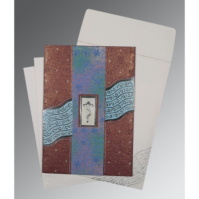 Purple Handmade Shimmer Foil Stamped Wedding Card : CIN-1375 - IndianWeddingCards