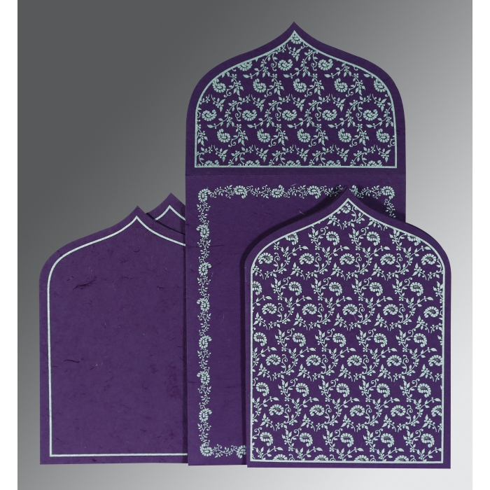 Purple Handmade Silk Paisley Themed - Glitter Wedding Invitation : CD-8208D - IndianWeddingCards