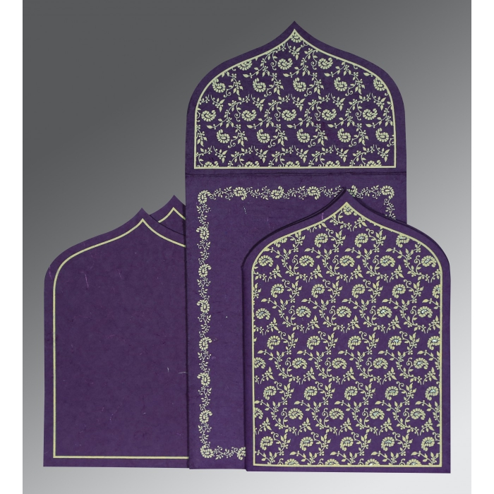 Purple Handmade Silk Paisley Themed - Glitter Wedding Invitation : CD-8208M - IndianWeddingCards