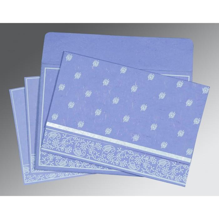 Purple Handmade Silk Screen Printed Wedding Card : CS-8215B - IndianWeddingCards