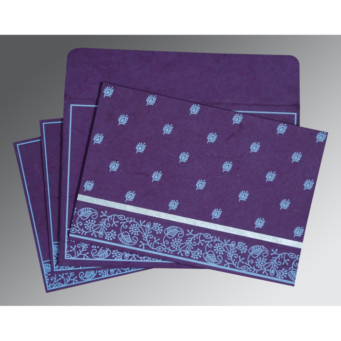 Purple Handmade Silk Screen Printed Wedding Card : CW-8215G - IndianWeddingCards