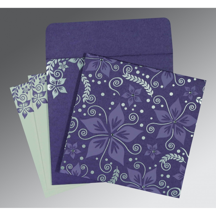 Purple Matte Floral Themed - Screen Printed Wedding Invitations : CD-8240B - IndianWeddingCards