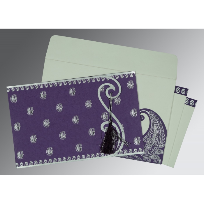 Purple Matte Paisley Themed - Screen Printed Wedding Invitation : CW-8252B - IndianWeddingCards
