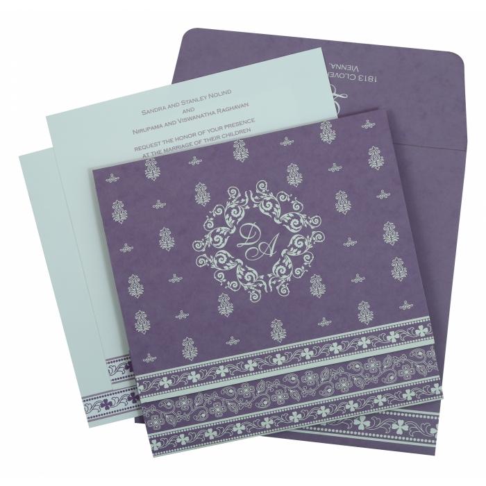 Purple Matte Screen Printed Wedding Invitation : CW-808E - IndianWeddingCards