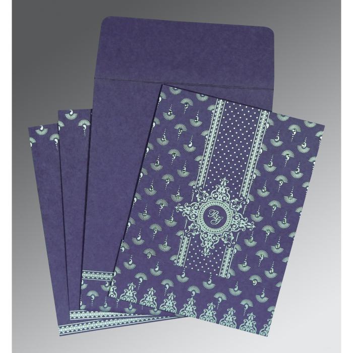 Purple Matte Screen Printed Wedding Invitation : CS-8247C - IndianWeddingCards