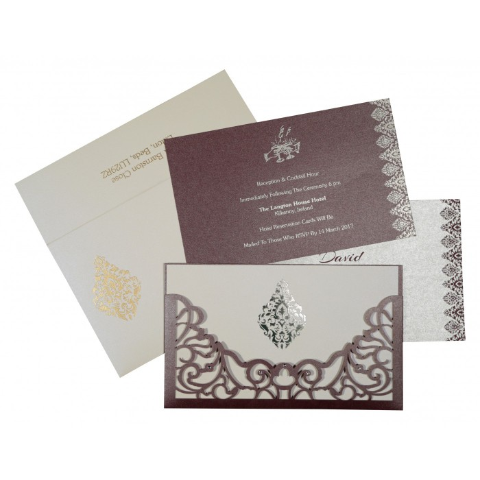 Purple Shimmery Damask Themed - Laser Cut Wedding Card : CW-8262B - IndianWeddingCards