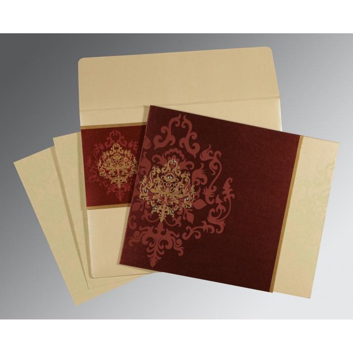 Purple Shimmery Damask Themed - Screen Printed Wedding Invitations : CD-8253F - IndianWeddingCards