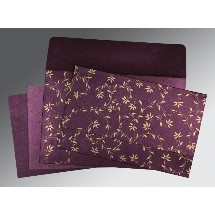 Purple Shimmery Floral Themed - Screen Printed Wedding Invitation : CD-8226P - IndianWeddingCards