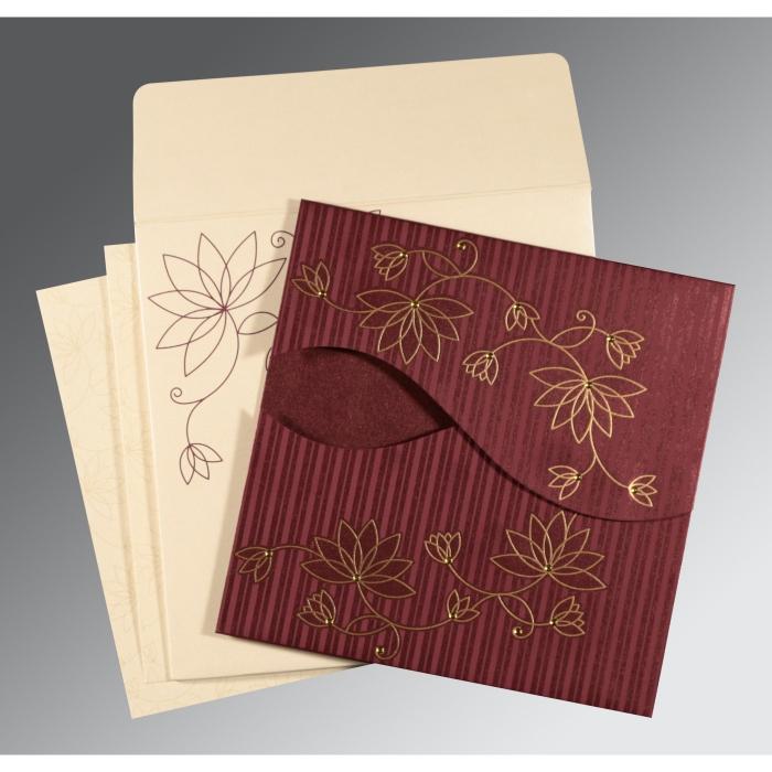 Purple Shimmery Floral Themed - Screen Printed Wedding Invitation : CD-8251C - IndianWeddingCards