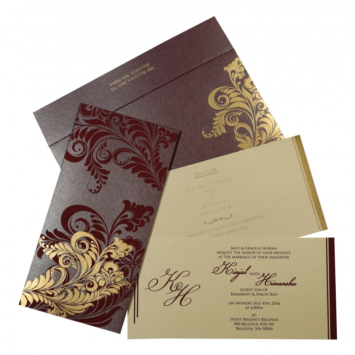 Purple Shimmery Floral Themed - Screen Printed Wedding Card : CSO-8259F - IndianWeddingCards