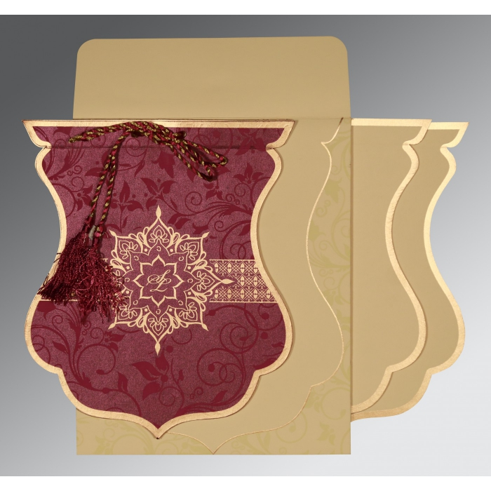 Purple Shimmery Floral Themed - Screen Printed Wedding Card : CW-8229K - IndianWeddingCards