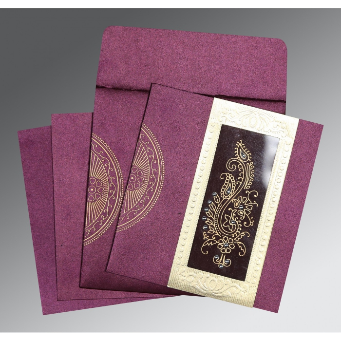 Purple Shimmery Paisley Themed - Foil Stamped Wedding Invitation : CW-8230K - IndianWeddingCards