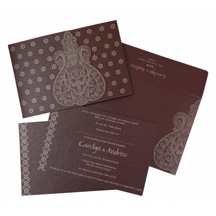 Purple Shimmery Paisley Themed - Screen Printed Wedding Invitation : CS-801C - IndianWeddingCards