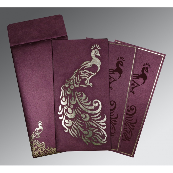 Purple Shimmery Peacock Themed - Laser Cut Wedding Invitation : CW-8255G - IndianWeddingCards