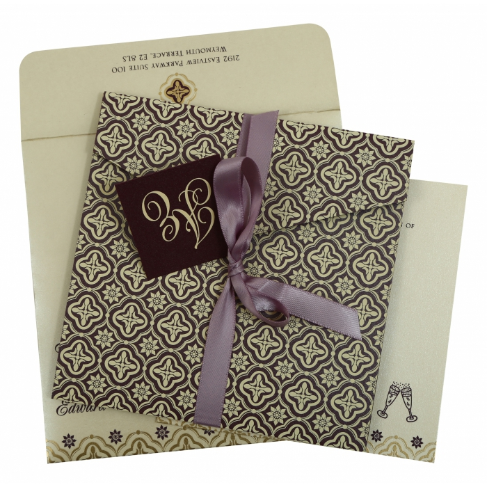 Purple Shimmery Screen Printed Wedding Invitation : CS-805C - IndianWeddingCards