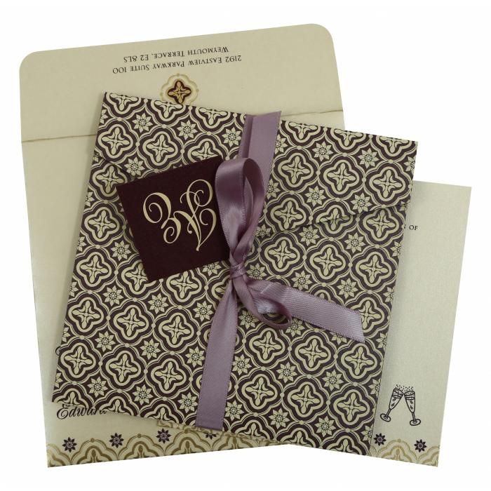 Purple Shimmery Screen Printed Wedding Invitation : CW-805C - IndianWeddingCards