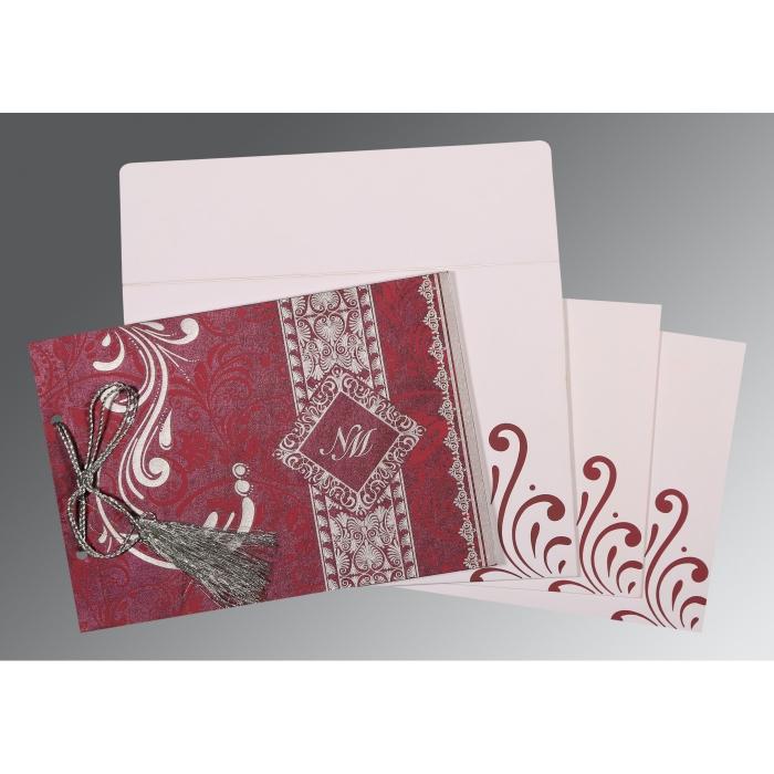 Purple Shimmery Screen Printed Wedding Card : CS-8223J - IndianWeddingCards