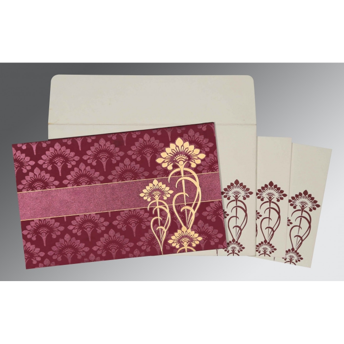 Purple Shimmery Screen Printed Wedding Card : CW-8239B - IndianWeddingCards