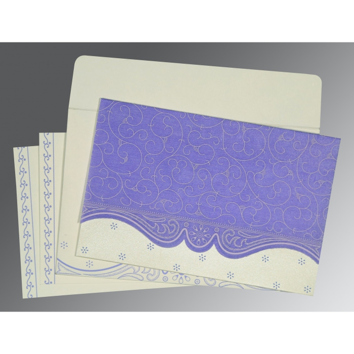 Purple Wooly Embossed Wedding Invitation : CS-8221E - IndianWeddingCards