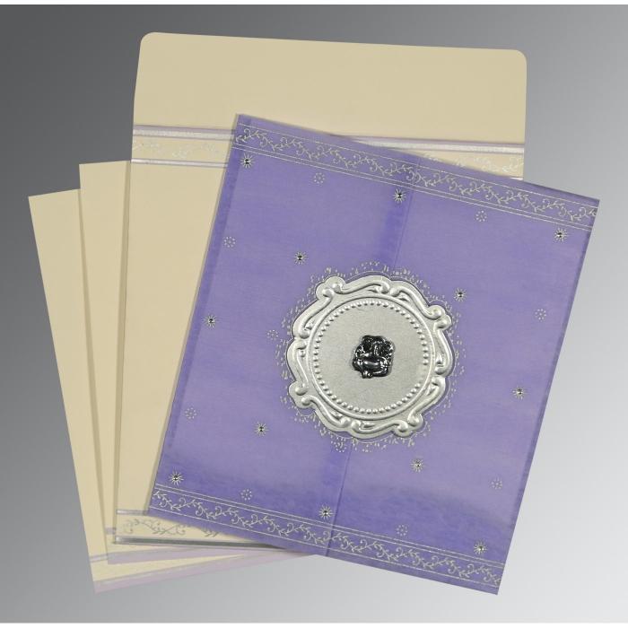 Purple Wooly Embossed Wedding Invitation : CW-8202S - IndianWeddingCards
