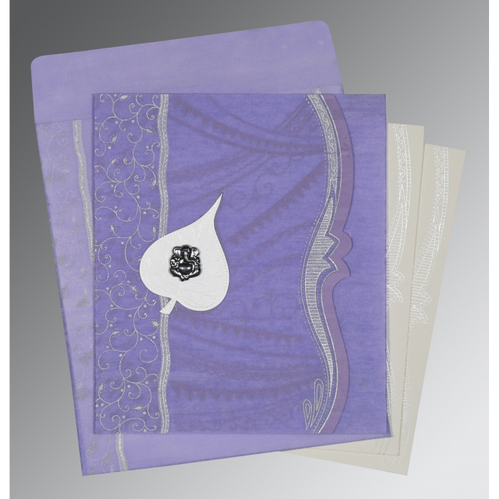 Purple Wooly Embossed Wedding Card : CW-8210N - IndianWeddingCards