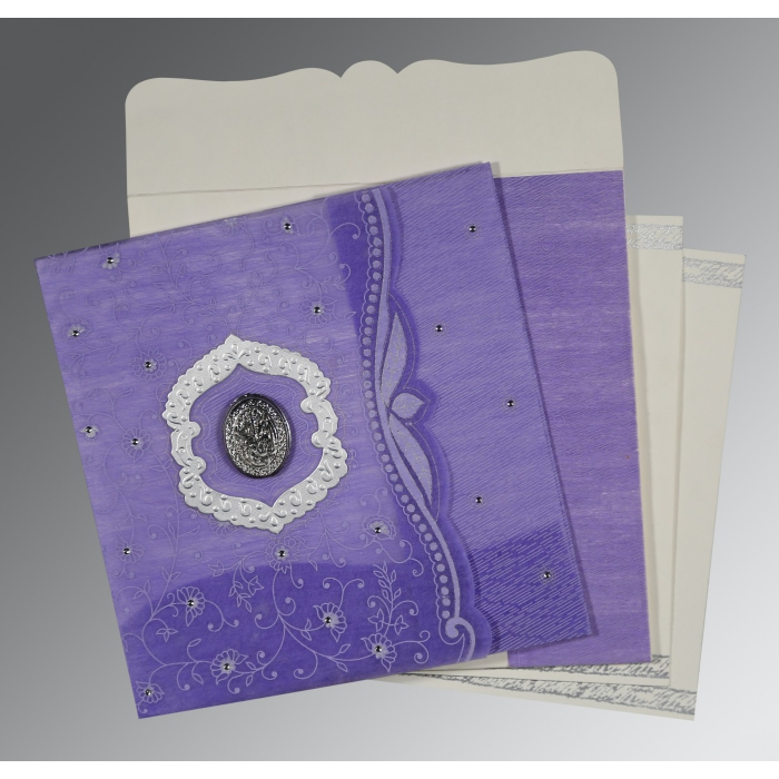 Purple Wooly Floral Themed - Embossed Wedding Card : CI-8209C - IndianWeddingCards
