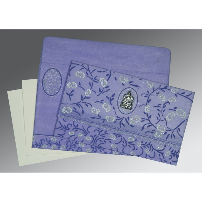 Purple Wooly Floral Themed - Glitter Wedding Card : CIN-8206A - IndianWeddingCards