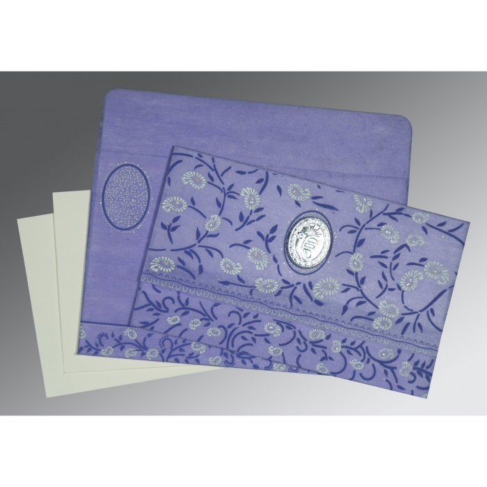 Purple Wooly Floral Themed - Glitter Wedding Card : CS-8206A - IndianWeddingCards