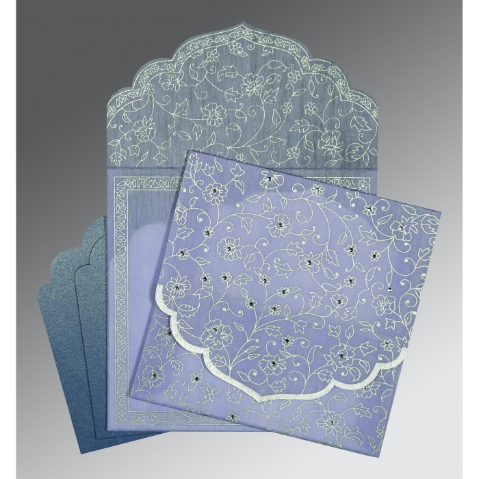 Purple Wooly Floral Themed - Screen Printed Wedding Invitation : CD-8211O - IndianWeddingCards