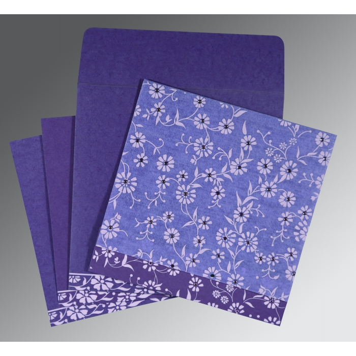 Purple Wooly Floral Themed - Screen Printed Wedding Card : CI-8222O - IndianWeddingCards