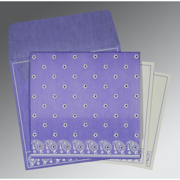 Purple Wooly Floral Themed - Screen Printed Wedding Card : CS-8218H - IndianWeddingCards