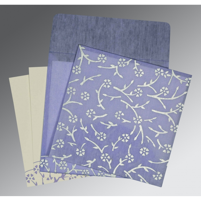Purple Wooly Floral Themed - Screen Printed Wedding Invitation : CW-8216Q - IndianWeddingCards