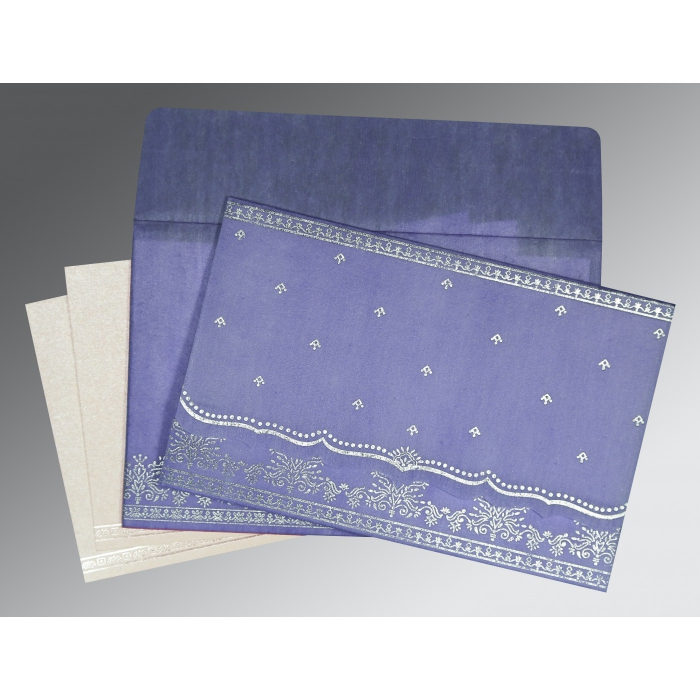 Purple Wooly Foil Stamped Wedding Invitation : CD-8241D - IndianWeddingCards