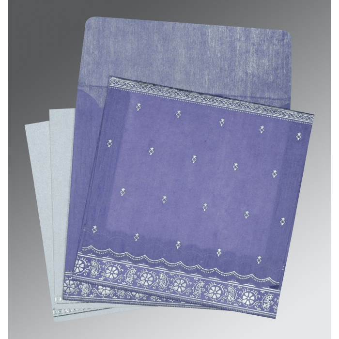 Purple Wooly Foil Stamped Wedding Invitations : CW-8242C - IndianWeddingCards