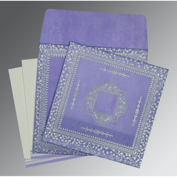 Purple Wooly Glitter Wedding Card : CD-8205F - IndianWeddingCards