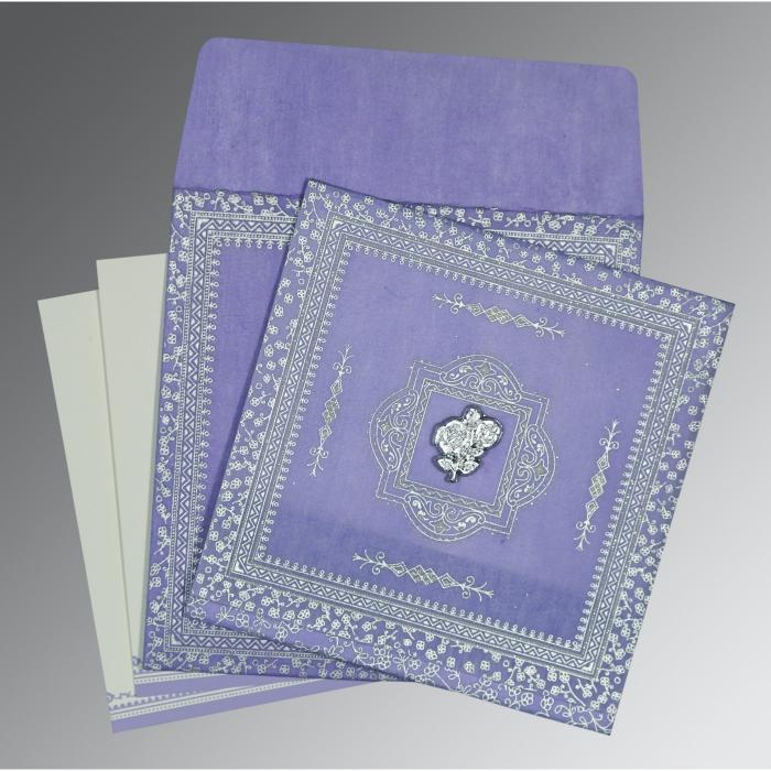 Purple Wooly Glitter Wedding Card : CI-8205F - IndianWeddingCards