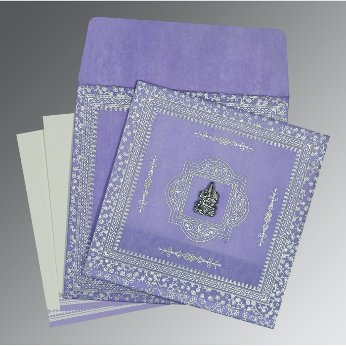 Purple Wooly Glitter Wedding Card : CW-8205F - IndianWeddingCards