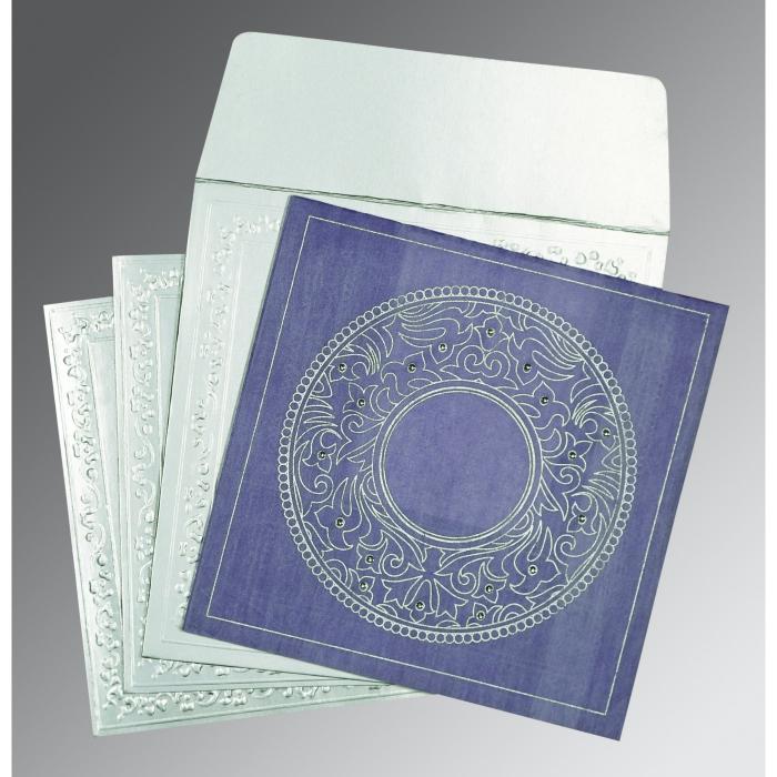 Purple Wooly Screen Printed Wedding Card : CD-8214O - IndianWeddingCards
