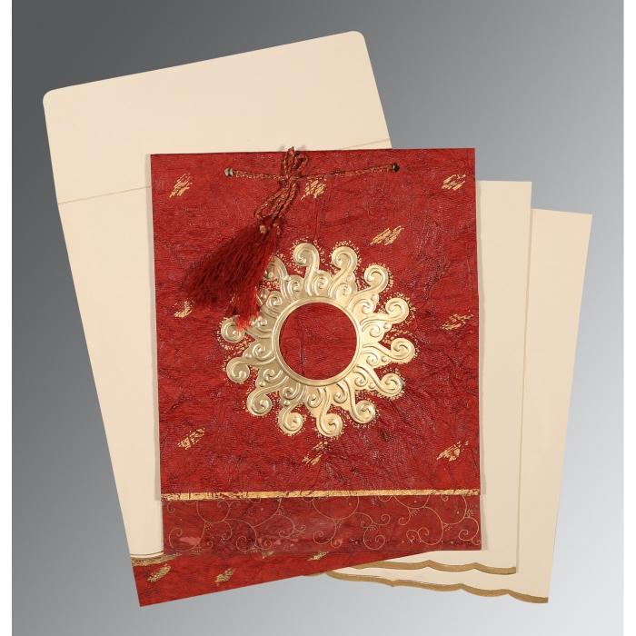 Red Handmade Cotton Embossed Wedding Invitation : CD-1264 - IndianWeddingCards