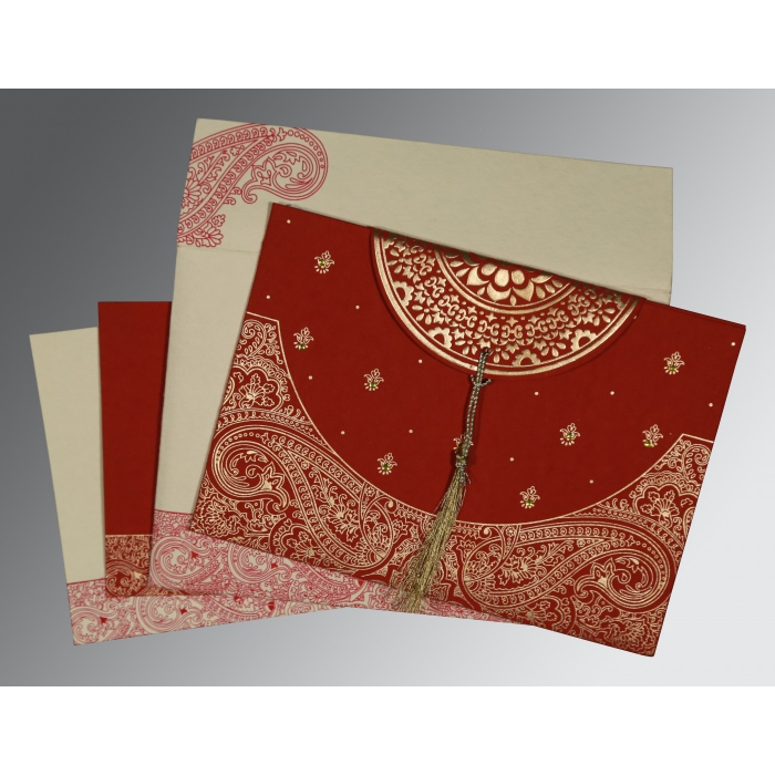 Red Handmade Cotton Embossed Wedding Card : CD-8234L - IndianWeddingCards