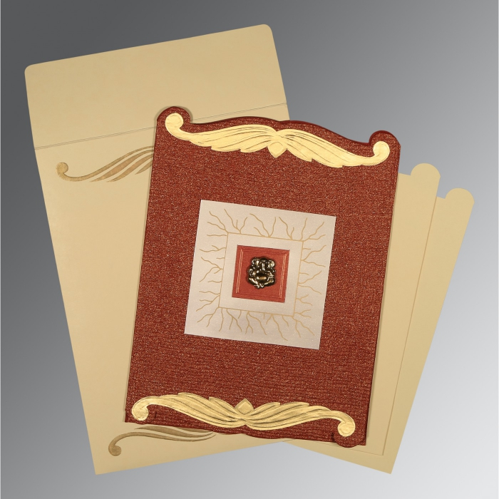 Red Handmade Cotton Embossed Wedding Card : CIN-1412 - IndianWeddingCards