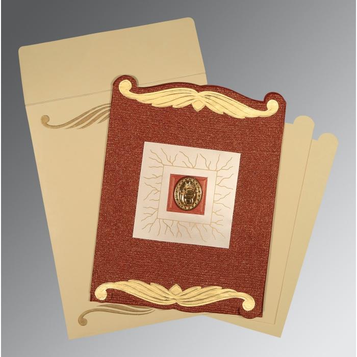 Red Handmade Cotton Embossed Wedding Card : CS-1412 - IndianWeddingCards