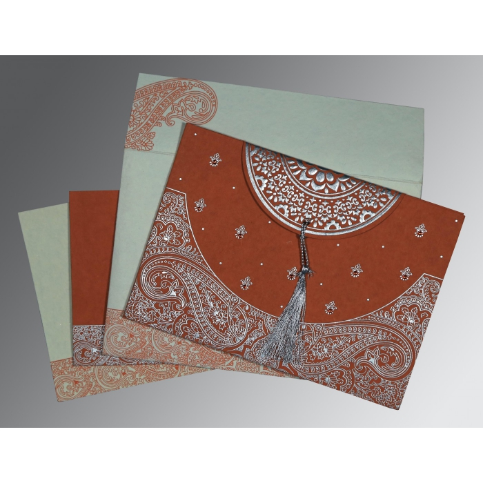Red Handmade Cotton Embossed Wedding Card : CW-8234F - IndianWeddingCards