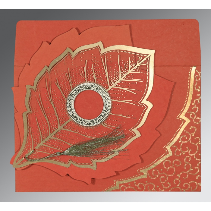 Red Handmade Cotton Floral Themed - Foil Stamped Wedding Card : CI-8219I - IndianWeddingCards