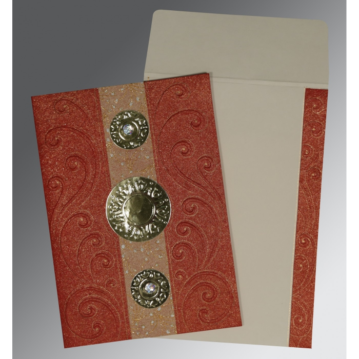 Red Handmade Shimmer Box Themed - Embossed Wedding Card : CC-1389 - IndianWeddingCards