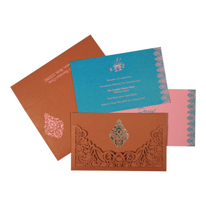 Red Matte Damask Themed - Laser Cut Wedding Card : CW-8262F - IndianWeddingCards
