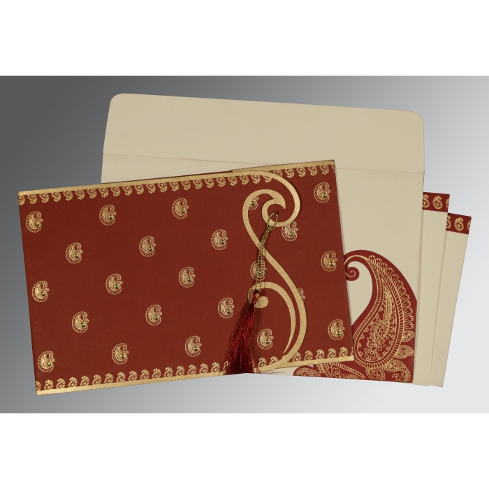 Red Matte Paisley Themed - Screen Printed Wedding Invitation : CD-8252A - IndianWeddingCards