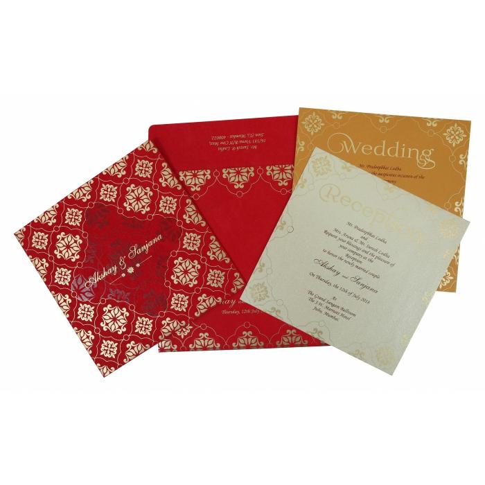 Red Matte Screen Printed Wedding Invitation : CD-1786 - IndianWeddingCards
